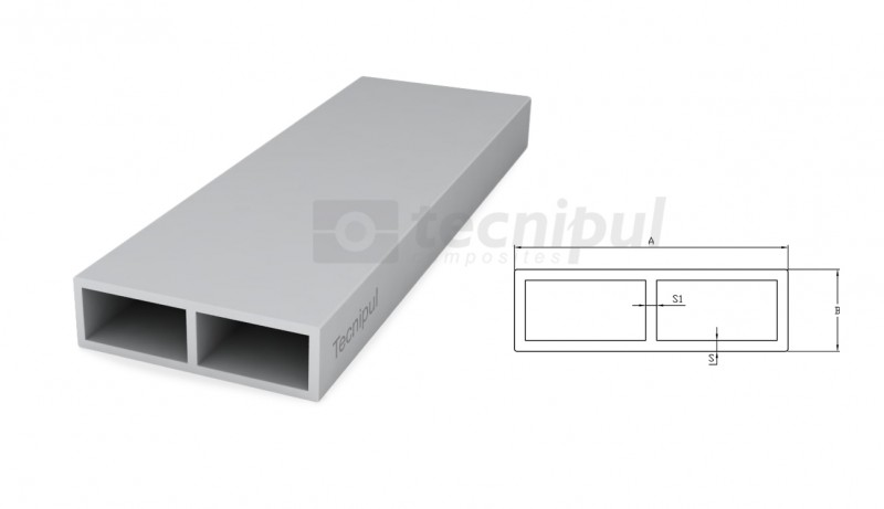 GRP rectangular profile with rib